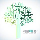 Conception abstraite de vecteur de flèche de symboles verts d'arbre Photo stock