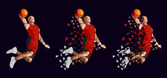 Conception abstraite réglée de joueur de basket illustration stock