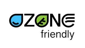 Conception amicale de logo de concept d'eco de l'ozone environnemental illustration de vecteur