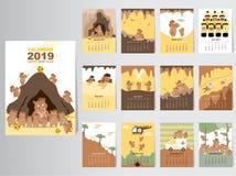 Conception animale drôle du calendrier 2019, l'année des calibres mensuels de cartes de porc, ensemble de 12 mois, enfants mensue Photographie stock libre de droits