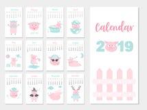Conception animale drôle du calendrier 2019, l'année des calibres mensuels de cartes de porc, ensemble de 12 mois, enfants mensue Image stock