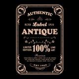 Conception antique de typographie de label d'insigne de vintage de cadre illustration stock