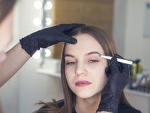 Conception artistique des sourcils rectification Forceps de Pin Femme faisant teinter ses sourcils Maquillage semi-permanent pour photographie stock