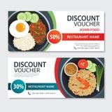 Conception asiatique de calibre de nourriture de bon de remise Positionnement de la Thaïlande Photographie stock