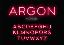 Conception au néon rougeoyante d'oeil d'un caractère Dirigez l'alphabet, lettres, police, ty Image libre de droits