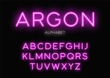 Conception au néon rougeoyante d'oeil d'un caractère Dirigez l'alphabet, lettres, police, ty Photos libres de droits