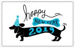 Conception 2019 avec le chien mignon de doxie de teckel d'amusement utilisant le chapeau bleu de partie avec le modèle d'os et 20 illustration de vecteur