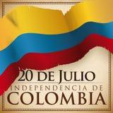 Conception avec le drapeau en lambeaux au-dessus du rouleau pour le Jour de la Déclaration d'Indépendance colombien, illustration illustration de vecteur