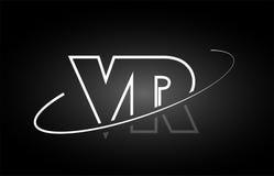 Conception blanche d'icône de noir de logo d'alphabet de lettre de VR V R illustration stock