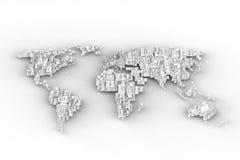 Conception blanche de carte du monde Photographie stock