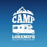 Conception blanche de vecteur de label de voyage de camping illustration libre de droits