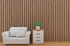Conception blanche minimaliste de sofa avec l'usine dans la pièce en bois de planche dans le rendu 3D Photo libre de droits