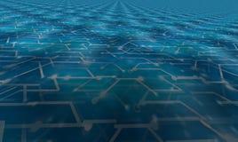 Conception bleu-foncé de plancher numérique sans fin du fond 3d Images libres de droits