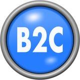 Conception bleue B2C dans le bouton 3D rond Photographie stock