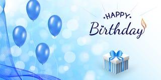 Conception bleue de joyeux anniversaire avec le ballon, voile onduleux illustration libre de droits