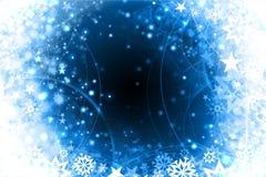 Conception bleue de Noël de flocons de neige de l'hiver Photographie stock