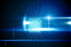 Conception bleue de technologie avec la carte Photo stock