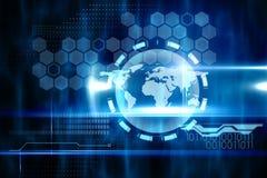 Conception bleue de technologie avec le globe Photo libre de droits