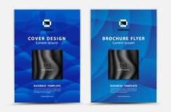 Conception bleue de vecteur de calibre de couverture, insecte de brochure, rapport annuel, annonce de mgazine, publicité, disposi illustration de vecteur