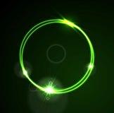 Conception brillante de calibre d'anneau au néon vert de vecteur de lueur Photos stock