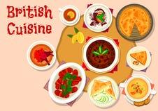 Conception britannique d'icône de plats de déjeuner de cuisine illustration stock