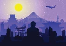 Conception célèbre de silhouette de point de repère du Japon illustration stock