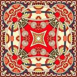 Conception carrée en soie de modèle d'écharpe ou de foulard de cou dans s ukrainien Photos libres de droits