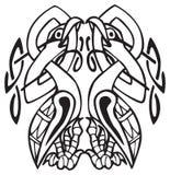 Conception celtique avec les lignes nouées de deux oiseaux Images libres de droits