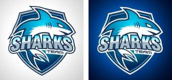 Conception classique de Team Style Shark Logo d'université pour l'identité de marque, profil d'entreprise Photos libres de droits