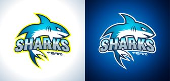 Conception classique de Team Style Shark Logo d'université pour l'identité de marque, profil d'entreprise Images libres de droits