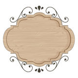 Conception classique en bois moderne de vecteur de signe Photo stock