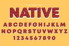 Conception colorée audacieuse de typographie de rayures rouges rétro illustration de vecteur