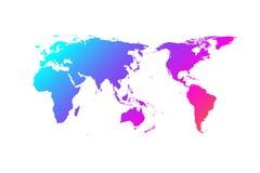 Conception colorée de gradient de vecteur de carte du monde, Asie au centre illustration libre de droits