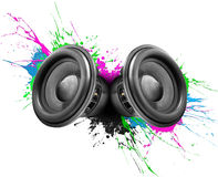 Conception colorée de haut-parleurs de musique Image stock