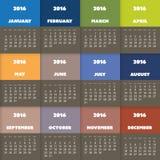 Conception colorée simple de calendrier pendant l'année 2016 Photos stock
