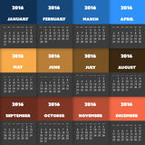 Conception colorée simple de calendrier pendant l'année 2016 Image stock