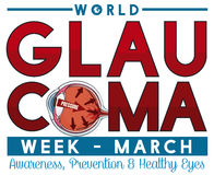 Conception commémorative pour la semaine de glaucome en mars avec l'oeil malade, illustration de vecteur Photos stock