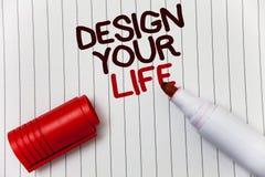 Conception conceptuelle d'apparence d'écriture de main votre vie Les rêves réglés de présentation de buts de la vie de plans de p Image stock