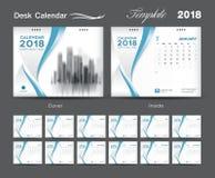 Conception 2018, couverture bleue, ensemble de disposition de calibre de calendrier de bureau de 12 Photographie stock
