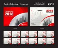 Conception 2018, couverture rouge, ensemble de calibre de calendrier de bureau de 12 mois, Photos stock