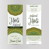 Conception créative d'insecte, de bannière ou de brochure pour le festival indien de couleurs, célébration heureuse de Holi Photos stock