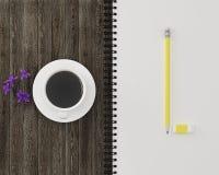 Conception créative de configuration d'appartement de crayon de jaune d'espace de travail, esprit de gomme Images libres de droits