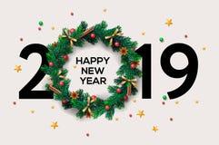 Conception créative de fond de 2019 bonnes années ou de Noël pour votre carte de voeux, insectes, invitation, affiches, brochure, illustration stock