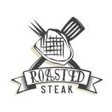 Conception créative de logo avec le bifteck Image stock