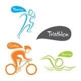 Conception créative de sport de triathlon Photographie stock libre de droits
