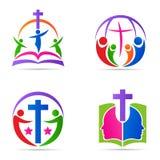 Conception croisée d'icône de vecteur de symbole de religion d'église de famille de bible de logo de personnes illustration stock