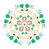 Conception décorative de modèle floral de miroir sur le fond blanc Photographie stock libre de droits