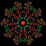 Conception décorative de modèle floral de miroir sur le fond noir Photo stock