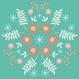 Conception décorative de modèle floral de miroir sur le fond vert Image libre de droits