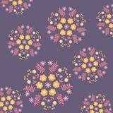 Conception décorative du modèle floral violet de miroir sur le fond Photographie stock